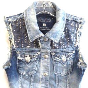 Miss Me Jean Denim Vest Jacket.